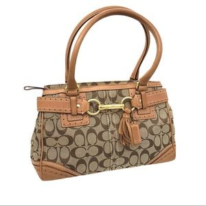COACH Hampton Satchel 10507 Signature Brown Canvas